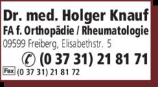Anzeige Knauf Holger Dr. med.