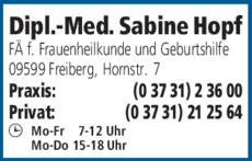 Anzeige Hopf Sabine Dipl.-Med.