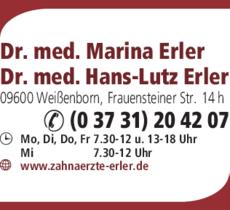 Anzeige Erler Marina Dr.med., Erler Hans-Lutz Dr.med.