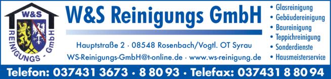 Anzeige W & S Reinigungs GmbH, Gebäudereinigung & Hausmeisterdienste