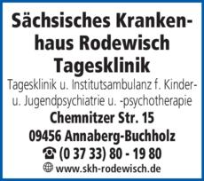 Anzeige Sächsisches Krankenhaus für Psychiatrie und Neurologie Rodewisch