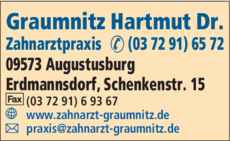 Anzeige Zahnarztpraxis Graumnitz Hartmut Dr.