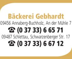 Anzeige Bäckerei Gebhardt