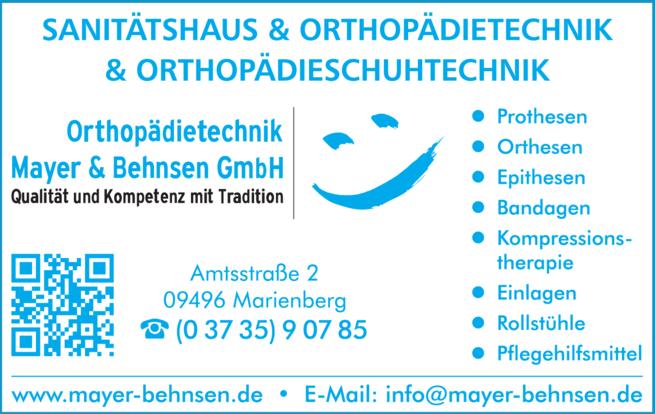 Anzeige Orthopädietechnik Mayer & Behnsen GmbH