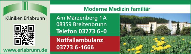 Anzeige Klinken Erlabrunn gemeinnützige GmbH GmbH