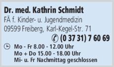Anzeige Schmidt Kathrin Dr. med.