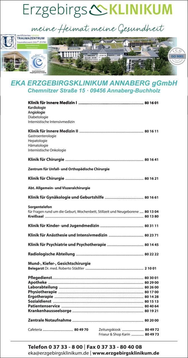 Anzeige EKA Erzgebirgsklinikum Annaberg gGmbH
