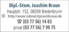 Anzeige Braun Joachim Dipl.-Stom. Zahnarzt