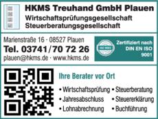Anzeige Steuerberater und Wirtschaftsprüfer HKMS Treuhand GmbH Plauen