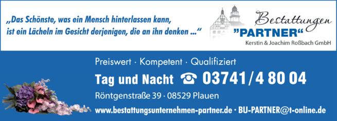 Anzeige Bestattung PARTNER Kerstin & Joachim Roßbach GmbH