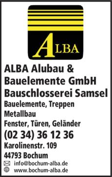 Anzeige Schlosserei ALBA Alubau und Bauelemente GmbH