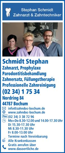 Anzeige Schmidt Stephan