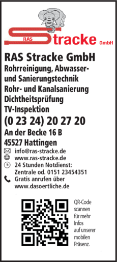 Anzeige Abflussreinigung RAS Stracke GmbH