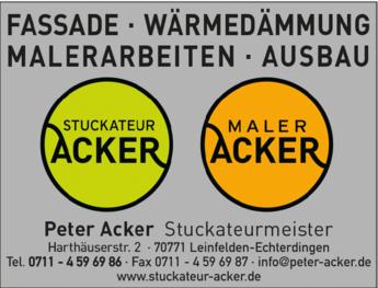 Anzeige Acker Peter - Stuckateurmeister