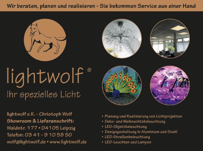 Anzeige light wolf e.K. Christoph Wolf Showroom & Lieferanschrift