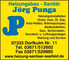 Anzeige Heizungsbau Punga Jörg