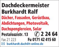 Anzeige Dachdeckermeister Burkhardt Ralf