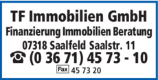 Anzeige TF Immobilien GmbH