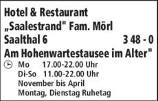 Hotel Restaurant Saalestrand In Unterwellenborn In Das Ortliche