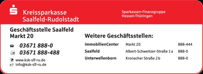 Anzeige Kreissparkasse Saalfeld-Rudolstadt