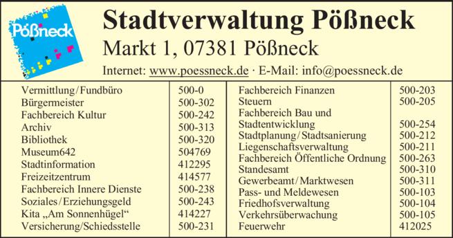 Anzeige Stadtverwaltung Pößneck