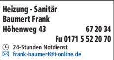 Anzeige Heizung - Sanitär Baumert Frank