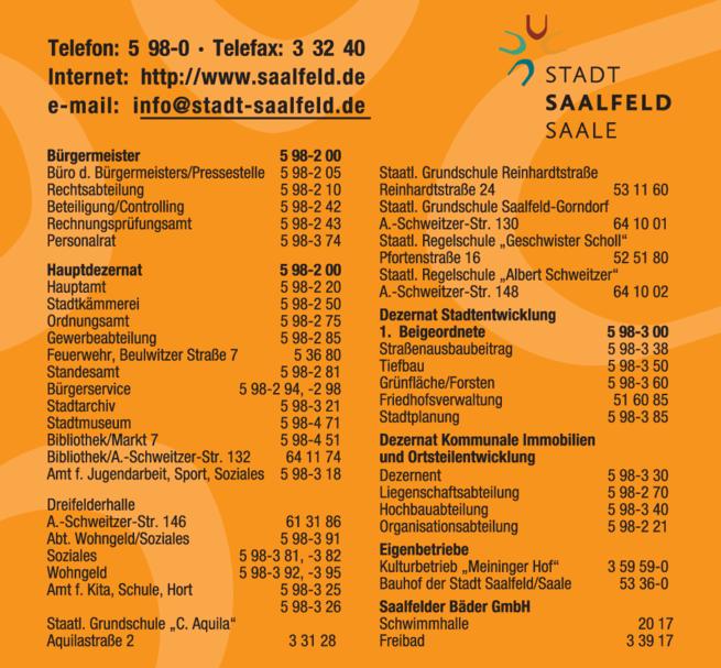 Anzeige Stadtverwaltung Saalfeld
