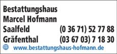 Anzeige Bestattungshaus Hofmann Marcel