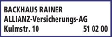 Anzeige BACKHAUS RAINER