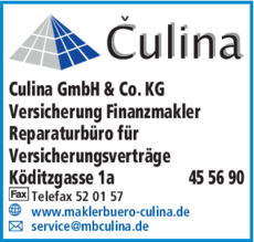 Anzeige Culina GmbH & Co. KG
