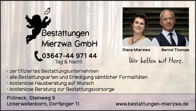 Anzeige Bestattungen Mierzwa GmbH