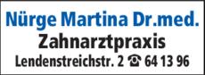 Anzeige Nürge Martina Dr. med.