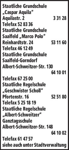 Anzeige Staatliche Grundschule Caspar Aquila