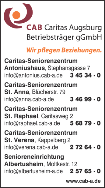Anzeige CAB Caritas Augsburg Betriebsträger gGmbH Einr. der Alten- u. Behindertenhilfe