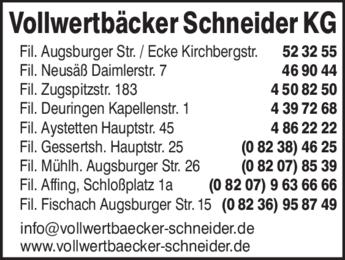 Anzeige Schneider Vollwertbäcker KG