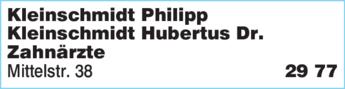 Anzeige Kleinschmidt Hubertus Dr. Zahnarzt
