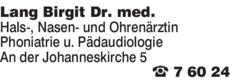 Anzeige Lang Birgit Dr. med. Hans-, Nasen-, und Ohrenärztin