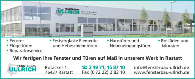 Anzeige Ullrich Heiko, Fensterbau
