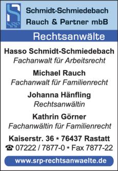 Anzeige Schmidt-Schmiedebach, Rauch & Partner GbR Rechtsanwälte