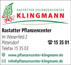 Anzeige Klingmann, Rastatter Pflanzen-Center