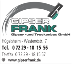 Anzeige Frank Gipser- und Trockenbau GmbH