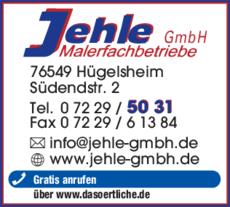 Anzeige Jehle GmbH , Malerfachbetrieb