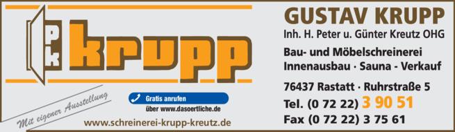 Anzeige Krupp Kreutz OHG, Bau-u. Möbelschreinerei