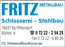 Anzeige Fritz Metallbau
