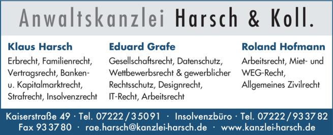 Anzeige Harsch & Koll., Anwaltskanzlei