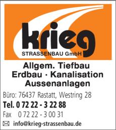 Anzeige Krieg Strassenbau GmbH