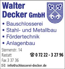 Anzeige Decker Walter Schlosserei GmbH
