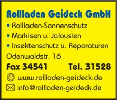 Anzeige Geideck GmbH , Rollladen-Sonnenschutz