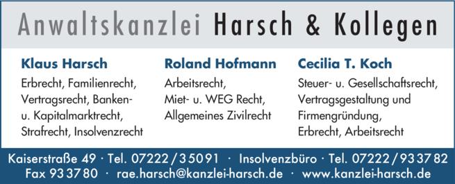 Anzeige Harsch & Kollegen, Anwaltskanzlei
