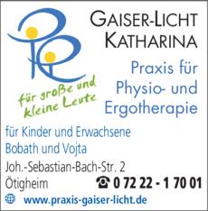 Anzeige Gaiser-Licht Katharina , Physiotherapie